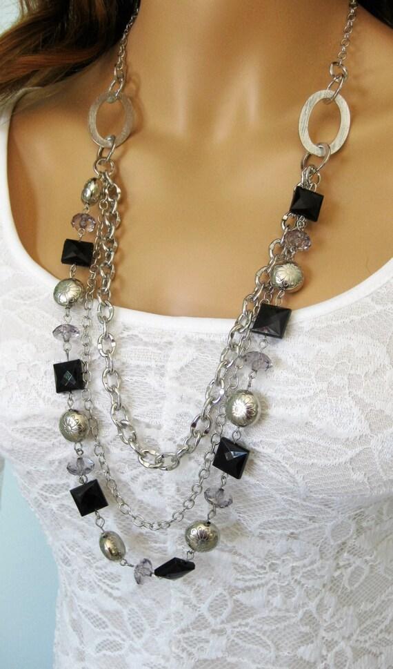 multi strand black and silver beaded by ralstonoriginals