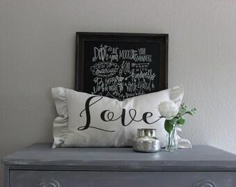 handmade, cusomized, ruffled, chic, Farmhouse, shabby, pillow cover, pilow, sham (love) (welcome) (family)