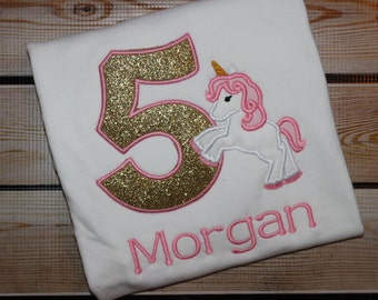 Personalized Gold sparkle and Pink Unicorn Birthday Shirt Number