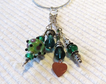 Lampwork beads, Keys, Scissors, Zipper Pull, Fob, Silver Hill Tribe beads, Heart, Valentines Day, Key Ring