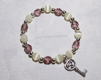 Purple & Ivory Key Bracelet