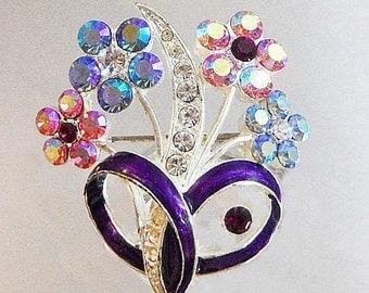 FALL SALE Vintage Flower Bouquet Brooch. Clear, Blue, Pink, Purple AB Rhinestone Floral Pin.
