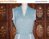 ON SALE Vintage 1950s Aldens The Misses Shop Baby Blue Rayon Sun Dress