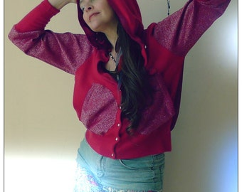 Upcycled Cherry Red Cashmere Chiffon & Lurex Hoody Cardigan            ReMade in UK
