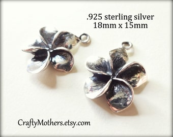 27% SALE! (Code: 27OFF20) 2 pieces Bali Sterling Silver Plumeria Flower Charms, 18mm x 15mm, OXIDIZED, bridal jewelry