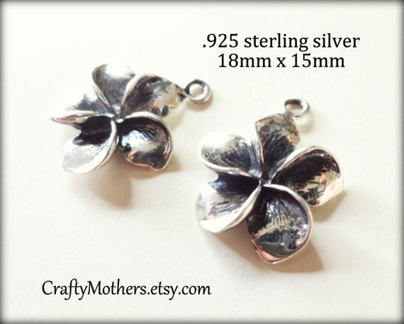 2 pieces Bali Sterling Silver Plumeria Flower Charms, 18mm x 15mm, OXIDIZED, bridal jewelry