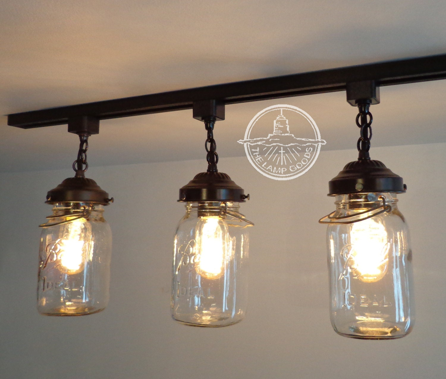 Vintage Mason Jar Track Light Trio