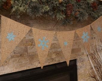 Burlap Banner, snowflake pennant banner, christmas banner, blue burlap snowflakes, winter decor, chirstmas decoration,