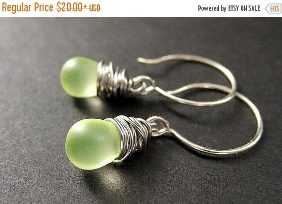 HALLOWEEN SALE Wire Wrapped Earrings: Teardrop Earrings in Lemon Lime Frosted Glass and Silver. Handmade Earrings.