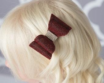 Burgundy hair bow, red glitter hair bow, girl hair accessories baby bow, wedding hair bow, toddler bow, girl hair clip, girl birthday gift