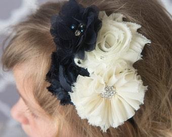Navy headband, ivory headband, cream flower headband, toddler headband, flower girl headband, flower hair accessory, bridal headband, gift