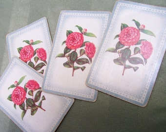 4 Vintage Playing Cards pink roses  swap cards