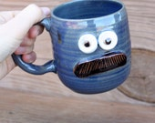 Mustache Mug Gifts for Him. Man's Coffee Cup in RBlueed. Hot Tea Mug. Funny Guy's Face Mug. Stoneware Pottery. Mustache Lover Gifts.