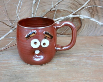 Sleepy Morning Coffee Cup. Funny Face Mug. Brick Red Brown Earth Tones. Hot Tea Soup Beer Mug. Large 18 ounce. LEFT HANDED MUG.