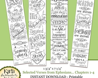 Ephesians 1-4 Color Your Own Bookmarks  Bible Journaling Illustrated Faith INSTANT DOWNLOAD Scripture Digital Printable Christian Religious