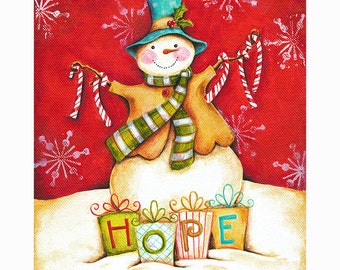 The Gift of Hope Snowman Print 8x10