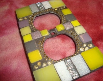 MOSAIC Electrical Outlet COVER, Wall Art, Wall Plate, Yellow, Lavender, White, Silver, Gold