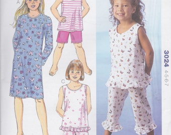 Kwik Sew Pattern 3024 Easy Pullover Nightshirt & Pull On Pajama in Two Styles Designed for Stretch Knits Only Girls' Sizes 4-5-6-7