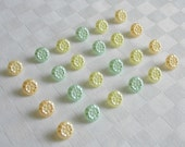 24  very pretty small pearlized  glass buttons - 3 diff. colors -  (11 mm - 7/16 in.)  -