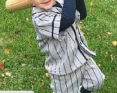size 24 months Grey with navy pinstripes.