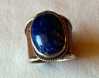 Lapis and Copper Cigar Band Ring