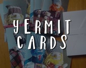 5 pack of Yermit picture folded cards