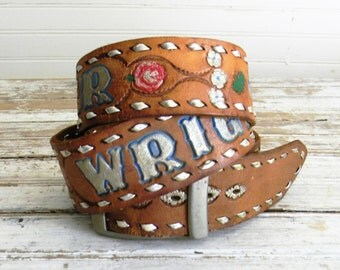 Vintage Tooled Leather Belt, Western Belt, Distressed Leather Belt, Mens Size 42, 1970s 1980s Tooled, Painted Leather Western Belt, Brown