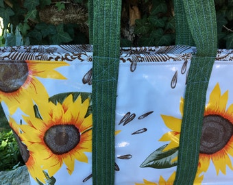 The Van Gogh--large reversible sunflower oilcloth tote bag