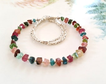 Brazilian Multi Tourmaline Necklace, Multi Color Hammered Tourmaline Nugget and Hill Tribe Silver Necklace