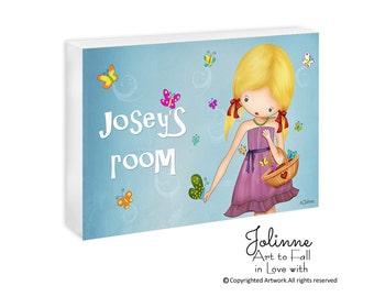 Kids door signs, Personalized door sign, kids door plaque, door sign custom, baby door hanger, children illustration,kids gift, children art