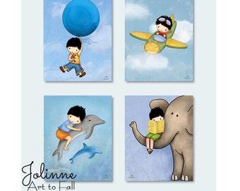 Wall decor for kids room Boys,boys room posters,boys room art prints set,elephant art for little boys nursery,airplane nursery art dolphine