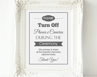 Unplugged Wedding Sign, No Cell Phones or Cameras Wedding - Grey - PRINTABLE Instant download, Unplugged Ceremony, No Cameras Sign, 3 Sizes