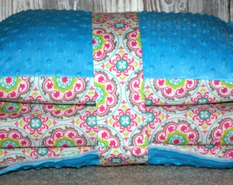 Kinder Nap Mat Cover - Geo Twirl with Turquoise Minky - Ready To Ship