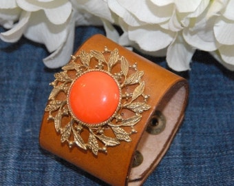 ON SALE in JULY Leather Cuff, Vintage Orange Cab Brooch, Embellished Leather Cuff, Ooak, Repurposed Vintage Brooch
