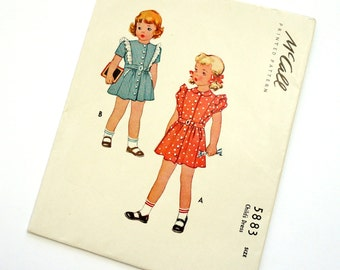 Girls Size 2 Dress 1940s McCalls Vintage Sewing Pattern 5883 / chest 21 / Cut Complete