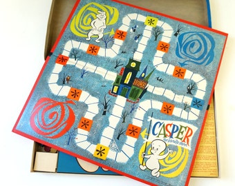Vintage 1950s Game / Milton Bradley Casper the Friendly Ghost Board Game 1959 Complete VGC / Ages 5 to 12, 2 to 4 Players