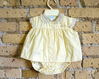 Baby Size 6-9M Two Piece Play Suit Set 1980s Like-New / Yellow and White Cotton, Dry Panty Romper and Top / Vintage Nannette