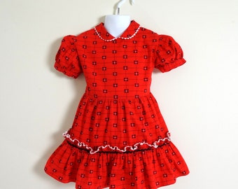 REDUCED Vintage 1950s Girls Approx Size 4  Dress / chest 26 length 19 / Red Cotton Black White Geometric Print, Ric Rac, Ruffles
