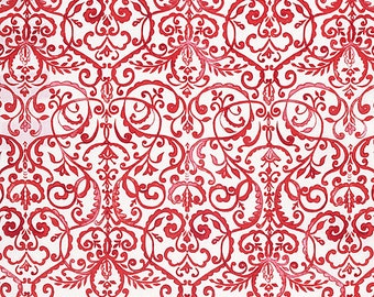 Merry Mistletoe Christmas Holiday Dena Fabric ScrollWork Design Scrolls in Red