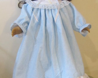 Flannel and lace nightie for 18 inch doll, American Girl Doll