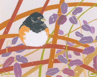 Rufous-sided Towhee in Frost - Hand Pulled Screen Print