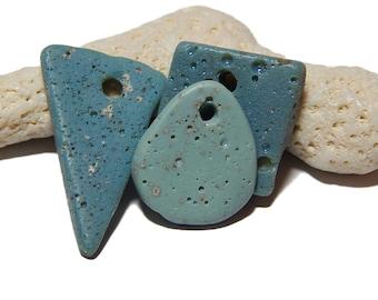Leland Blue Small Pendants, Sliced Slag, slag glass, foundry glass, Shapes, Lake Michigan find