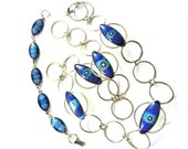 1960s Venetian glass  floral cabochons oval and round link necklace and bracelet set - cheerful in blue and silver-Very fashionable-art.371-