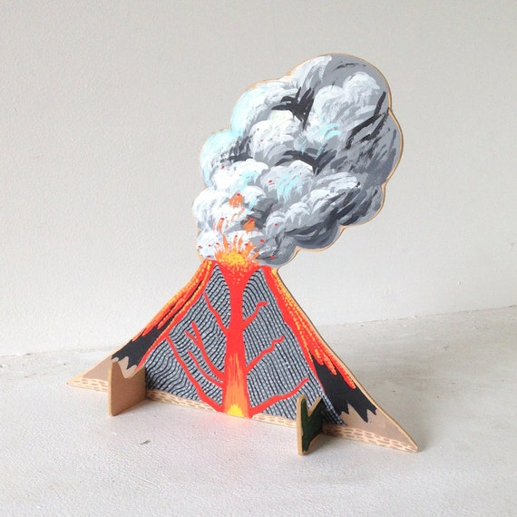 Small wooden sculpture - Erupting Volcano Wearing Rainboots