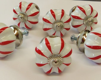 """FREE SHIPPING 6 Knobs Drawer Pulls Red and White Peppermint Stripe 1-1/2"""""""