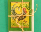 TROPICAL FRENCH ROOSTER Greeting Cards, Set of 3 Green Rooster Cards, Designed by Susana Caban