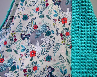 Baby Blanket-Crochet-Chunky-Whimsical Woodland Modern-Rabbit-Bunny-Teal-Butterfly