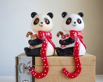 Stocking Hangers, Ornament Hangers, Pair Of Vintage Panda Bears, Vintage Christmas Decor, 1980s, Fun and Whimsical