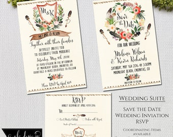 Invitation Kit, Wedding Invitations, Rustic Floral, Wedding Suite Set, Thank You Cards, Save the Date, Wedding Invitation