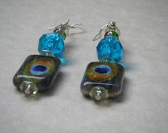 Bead Earrings, Peacock Feather Bead, Blue Bead, Dangle Earring, .925, Sterling Silver Earring Hook